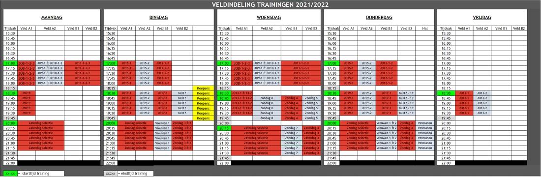 Trainingsschema dd 12-aug-2021