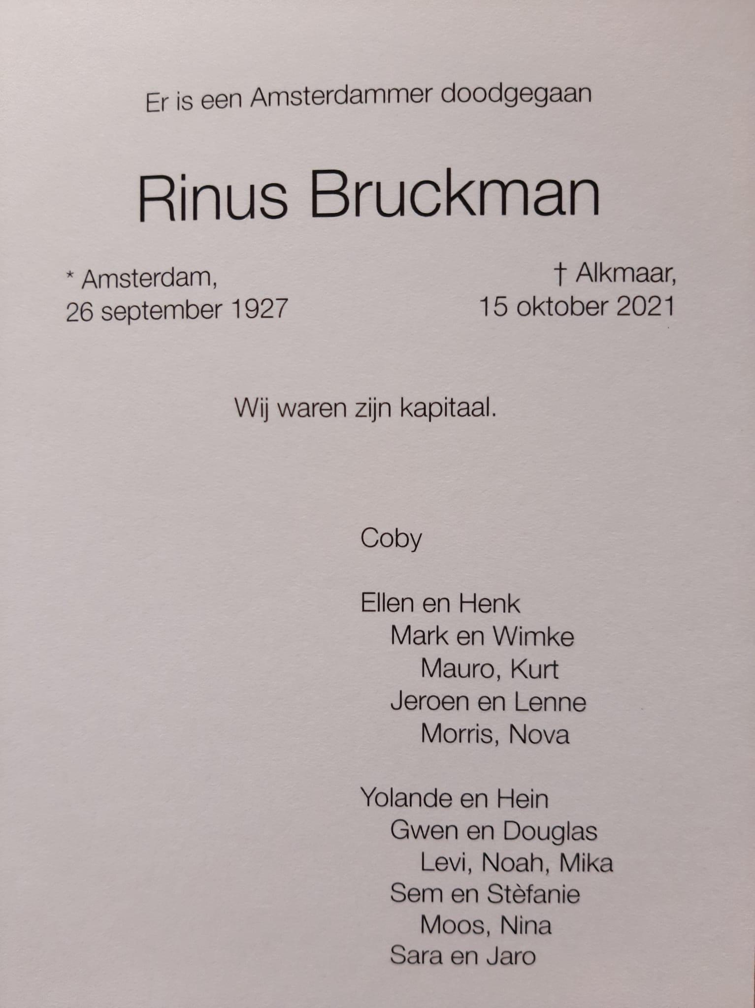 Rouwkaart Rinus Bruckman